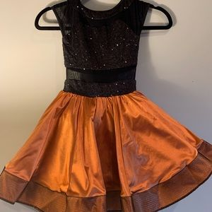Weissman Rusty Orange, Black Sequin Jazz Costume
